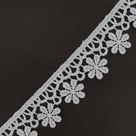 Guipure lace ribbon, Flowers 30 mm - light grey