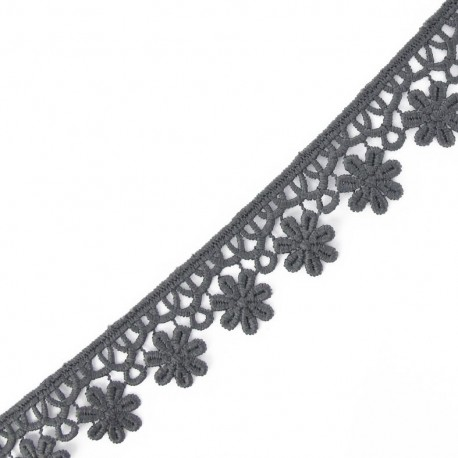 Guipure lace ribbon, Flowers 30 mm - grey