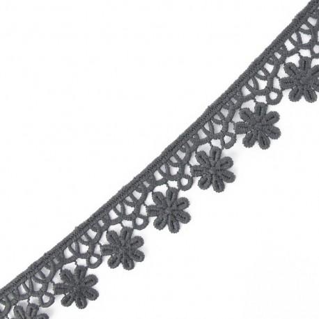 Guipure Fleurs 30mm Gris