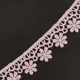 ♥ Coupon 160 cm ♥  Guipure lace ribbon, Flowers 30 mm - pink