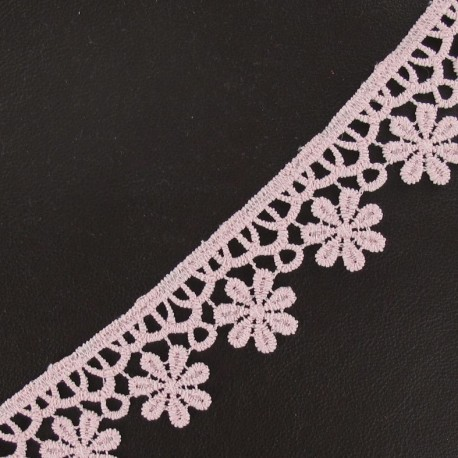 Guipure lace ribbon, Flowers 30 mm - pink