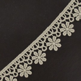 Guipure lace ribbon, Flowers 30 mm - beige