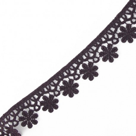 Guipure lace ribbon, Flowers 30 mm - purple