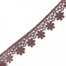Guipure lace ribbon, Flowers 30 mm - burgundy