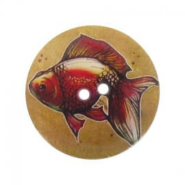 Mother-of-Pearl button, fishes printed - multi-colored