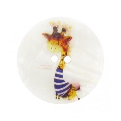 Mother-of-Pearl button, Giraffe printed - multi-colored