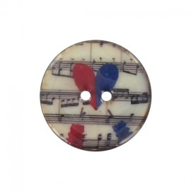 Button, varnished Coco 28 mm, sheet music, heart - two tones