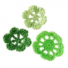 Crochet Flowers (1 pack of 6) - green