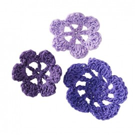 Crochet Flowers (1 pack of 6) - mauve