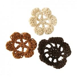 Crochet Flowers (1 pack of 6) - brown