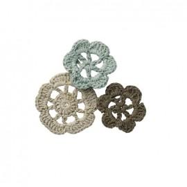 Crochet Flowers (1 pack of 6) - vintage