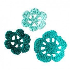 Crochet Flowers (1 pack of 6) - turquoise