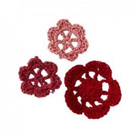 Crochet Flowers (1 pack of 6) - burgundy