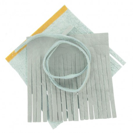 """Set of leather double pompom, large-size """"Chalk"""" - light blue"""