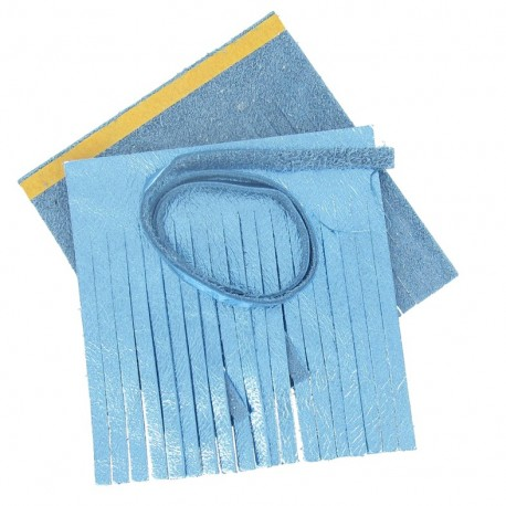 "Set of leather double pompom, large-size ""Bleu Métal"" - metallic blue"