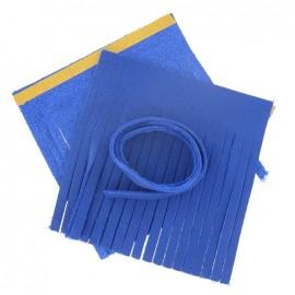 "♥ Set of leather double pompom, large-size ""China"" - royal blue ♥"