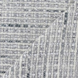 Tissu Tweed Coco Lurex gris perle x 10cm