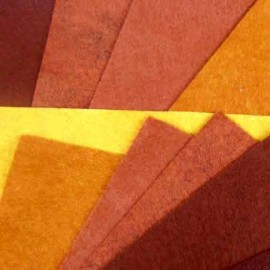 Feutrine de laine orange/marron