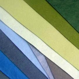 Feutrine de laine vert/turquoise/bleu-vert