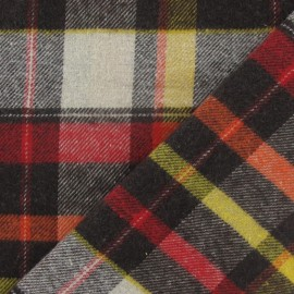 Tissu coton gratté grands carreaux brun x 10cm