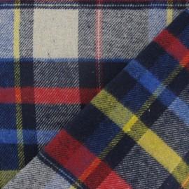 Tissu coton gratté grands carreaux marine x 10cm