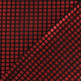 Tissu Lycra carreaux rouge x 10cm
