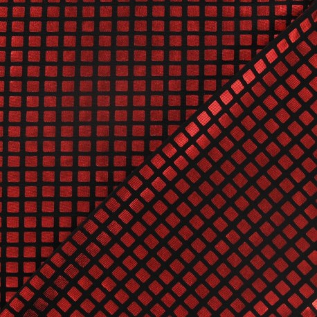 Checked lycra fabric - red x 10cm