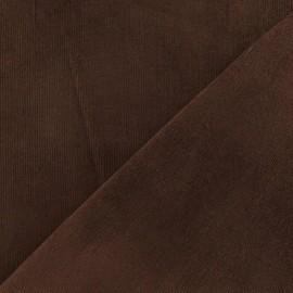 Tissu velours milleraies élasthanne chocolat x 10cm