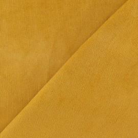 Tissu velours milleraies élasthanne jaune moutarde x 10cm