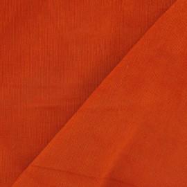 Tissu velours milleraies élasthanne orange x 10cm