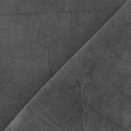 Tissu velours milleraies élasthanne gris perle x 10cm