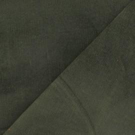 Tissu velours milleraies élasthanne vert militaire x 10cm