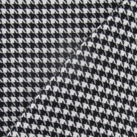 Houdstooth small wool fabric - black and white x 10cm