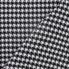 Tissu lainage pied de poule noir et blanc petit x 10cm