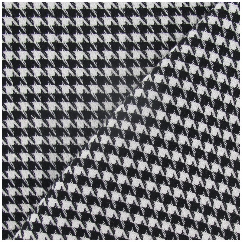 tissu lainage pied de poule noir et blanc petit x 10cm. Black Bedroom Furniture Sets. Home Design Ideas