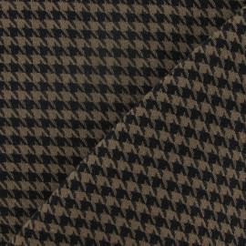Tissu lainage pied de poule marron et noir petit x 10cm
