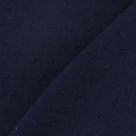 Tissu Plumetis coton - bleu nuit x 10cm
