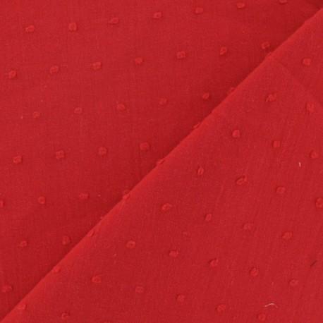 Tissu Plumetis rouge x 10cm