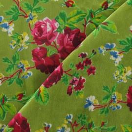 Tissu Velours ras fleuri vert x10cm