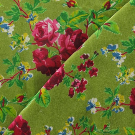 Fabric Velours ras fleuri vert x10cm