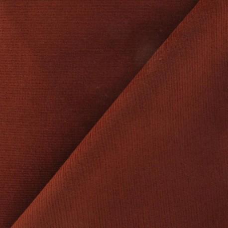Tissu velours milleraies élasthanne brique x10cm