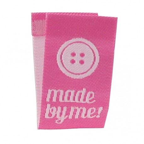 """Label """"Made by me"""" button to fold - pink"""