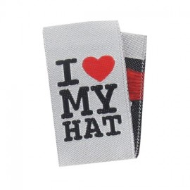 "Label ""I ♥ my hat"" to fold - white"