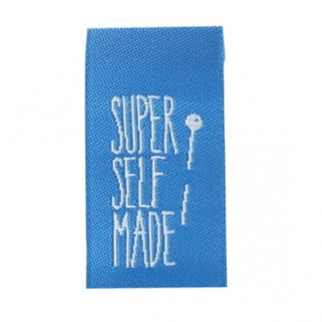 "Label ""Super self made"" to fold - blue"