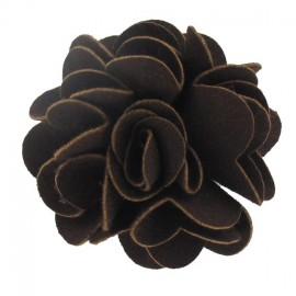 Pompom Dahlia brooch - chocolate