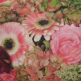 Tissu enduit coton bouquet rose x 10cm