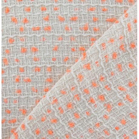 Tweed  fabric -Orange neon ecru x 10cm