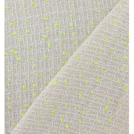 Tissu Tweed Jaune fluo écru x 10cm