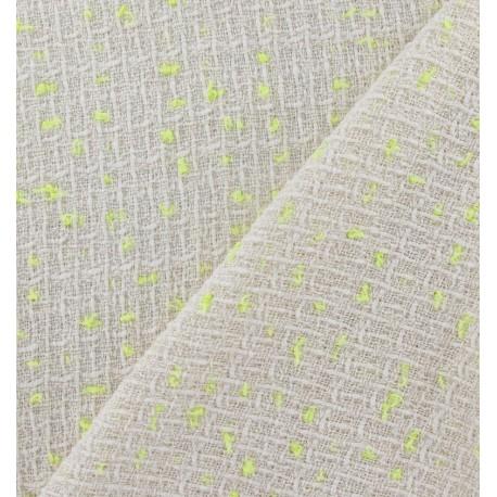 Tweed fabric - yellow neon ecru x 10cm