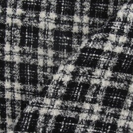 Tweed Vichy fabric - black and white x 10cm